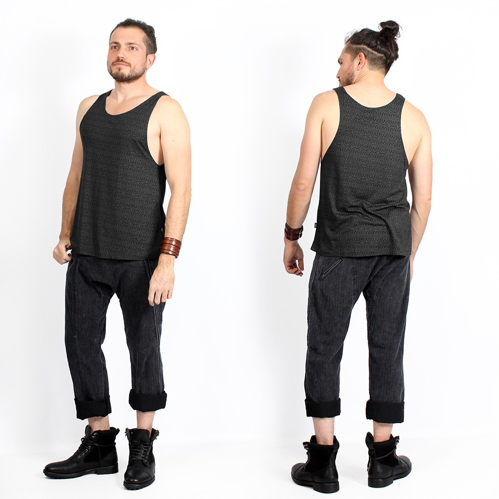 """Kinetic Shipibo\"" tank top, Dark grey"