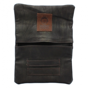 """Kush Pouch\"" plain leather tobacco pouch with a strap"