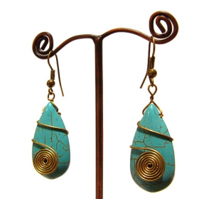 """Kwella\"" ethnic golden brass earrings with beads and stones"