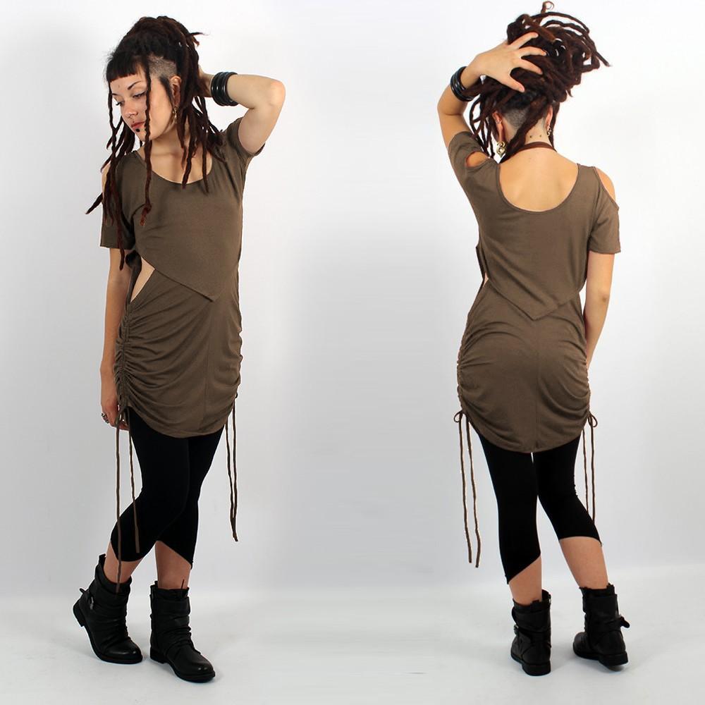"\""Laality\"" tunic-dress, Dark mole"