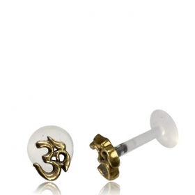 "Labret with brass top \""Ohm\\\"""