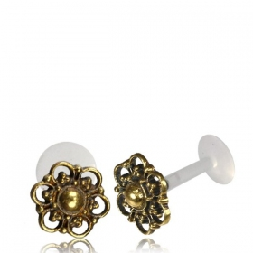 """Labret with brass top \\\""""Takayi\\\"""""""