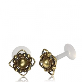 """Labret with brass top \\\""""Tokela\\\"""""""