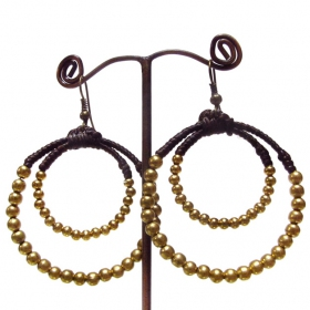 """Lahna\"" ethnic golden brass earrings with beads and stones"
