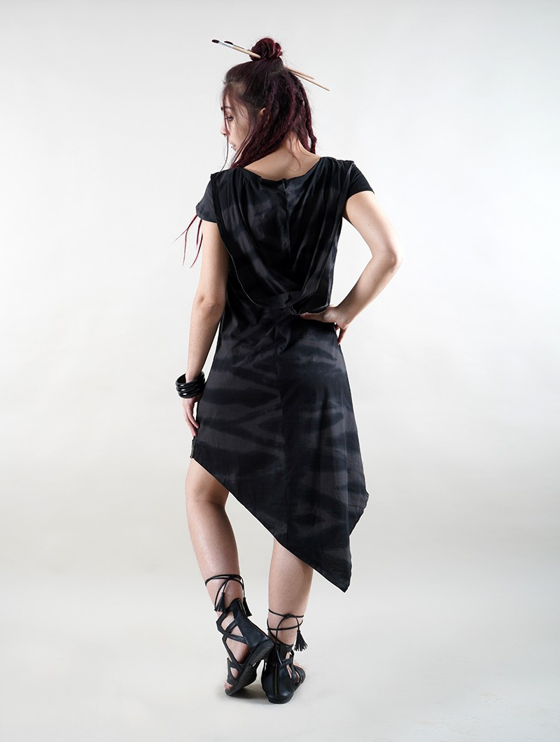 """Lakshmi\"" short sleeve dress, Black Tie Dye"