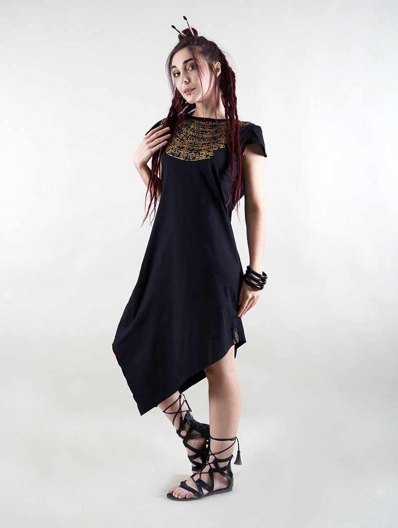 """Lakshmi\"" short sleeve dress, Black with golden print"