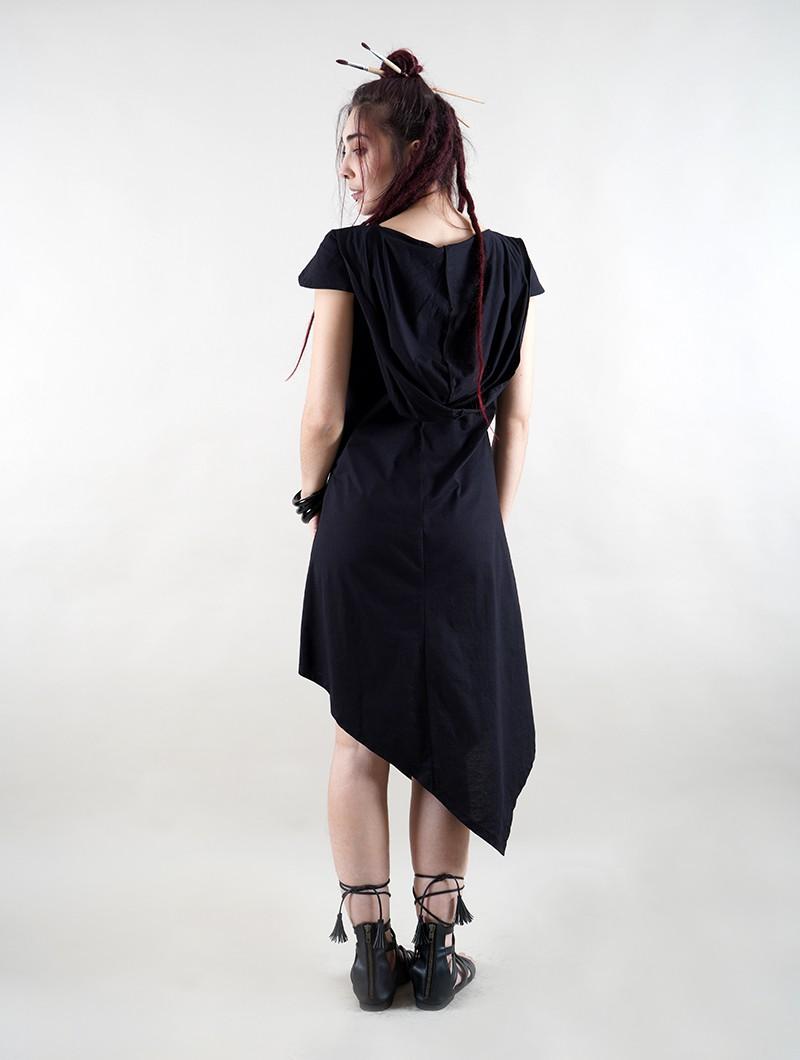 "\""Lakshmi\"" short sleeve dress, Black with golden print"