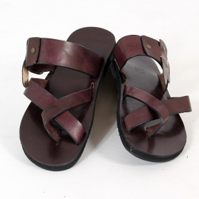 "Leather flip-flops \""Gopal\\\"", Dark brown"
