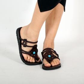 "Leather flip-flops \""Murali\"", Dark brown"