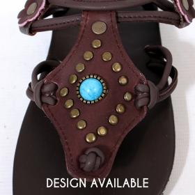 "Leather flip-flops ""Murali"", Dark brown"