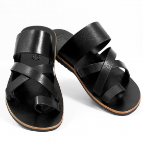 "Leather flip-flops ""Nagai\"", Black"