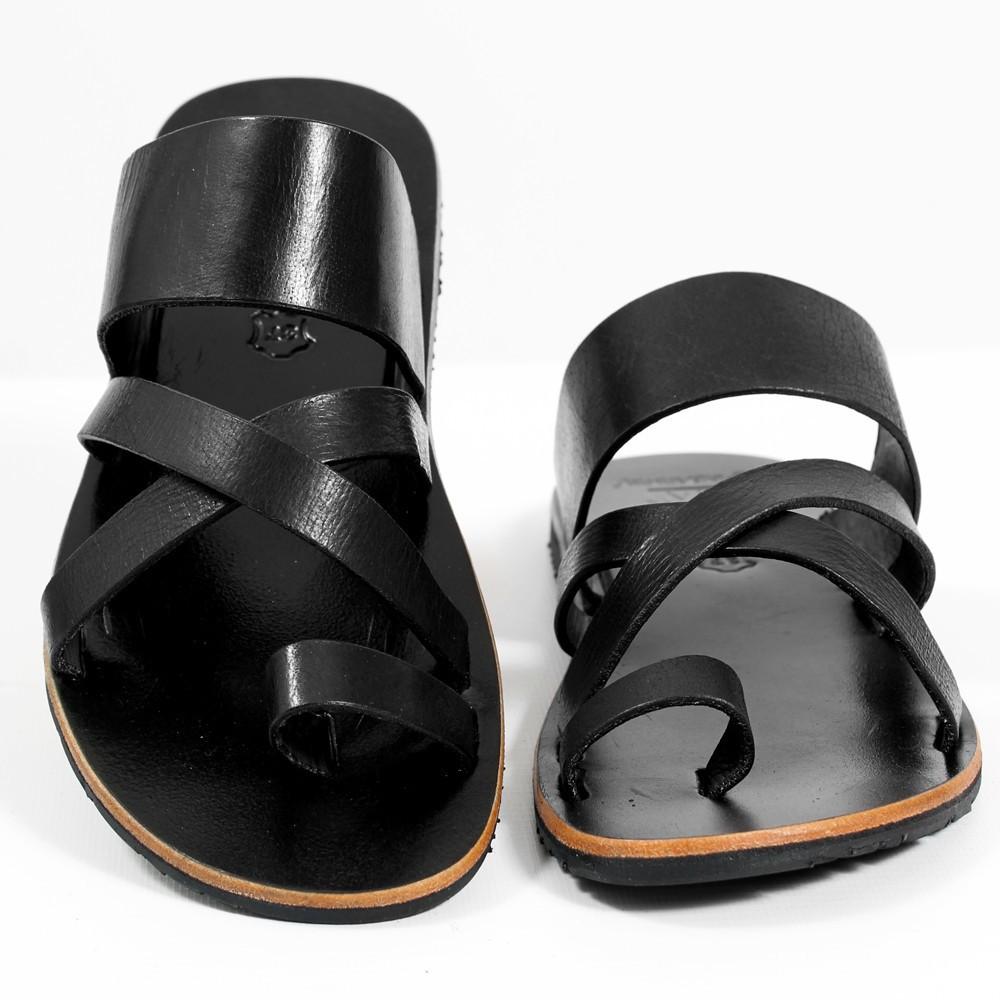 "Leather flip-flops \""Nagai\"", Black"