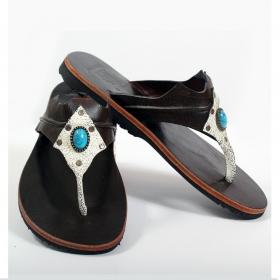 "Leather flip-flops \""Nauka\"", Black"