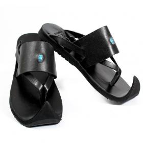 "Leather flip-flops \""Nishka\"", Black"