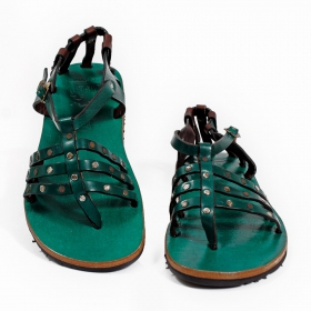 "Leather flip-flops \\\""niyati\\\"", teal"
