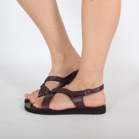 "Leather flip-flops \""Nupura\"", DarkBrown"