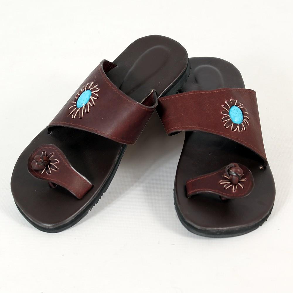 """Leather flip-flops \\\""""Panna\\\"""", DarkBrown"""