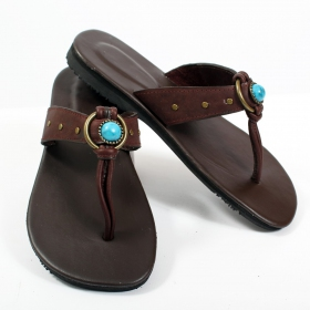"Leather flip-flops \\\""piyali\\\"", darkbrown"