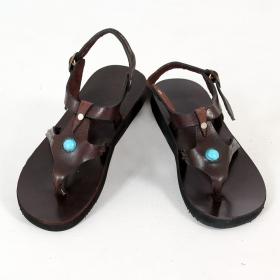 "Leather flip-flops \\\""Raksha Blue\\\"", DarkBrown"