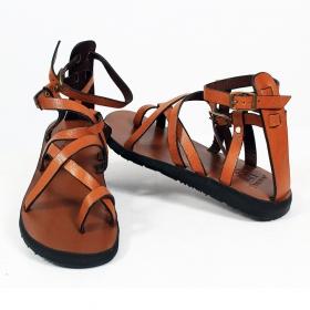 "Leather flip-flops \""Rekha\"", Camel"
