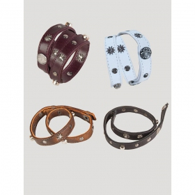 Leather wristband with metal studs