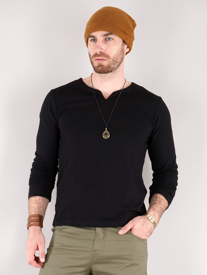 """Legolas\"" long sleeve t-shirt with mao collar, Black"