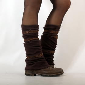 Legwarmer, Brown and brown lace
