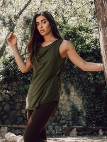 "\""Leigha\"" loose sleeveless top, Olive green"
