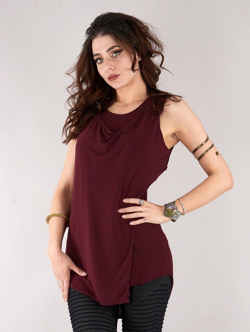 "\""Leigha\"" loose sleeveless top, Wine"