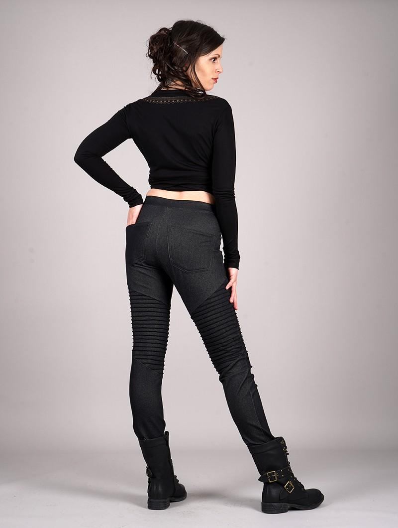 """Lilith\"" long jeggings , Denim black"