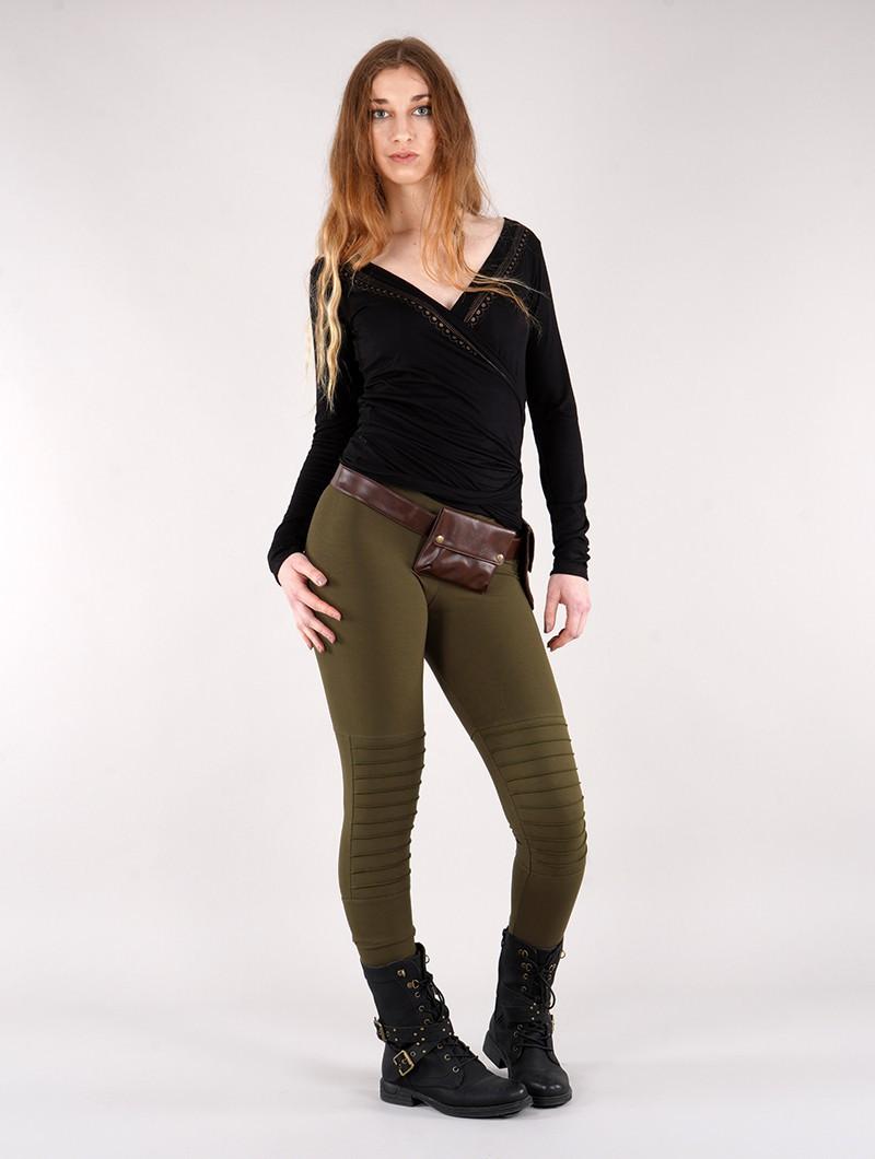 "\""Lilith\"" long leggings, Khaki green"