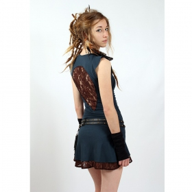 "Liloo Dress ""Jadeite\"", Teal blue brown"