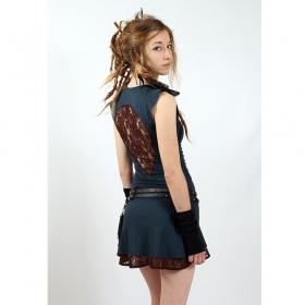 "Liloo Dress \""Jadeite\"", Teal blue brown"