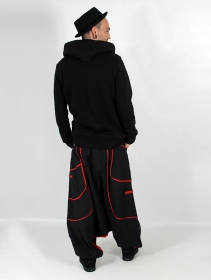 """Lines\"" Gender neutral harem pants, Black with red lines"