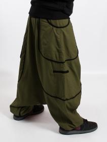 "\""Lines\"" Gender neutral harem pants, Khaki green with black lines"