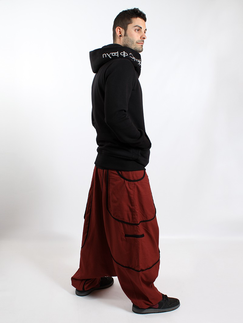 """Lines\"" Gender neutral harem pants, Rusty with black lines"
