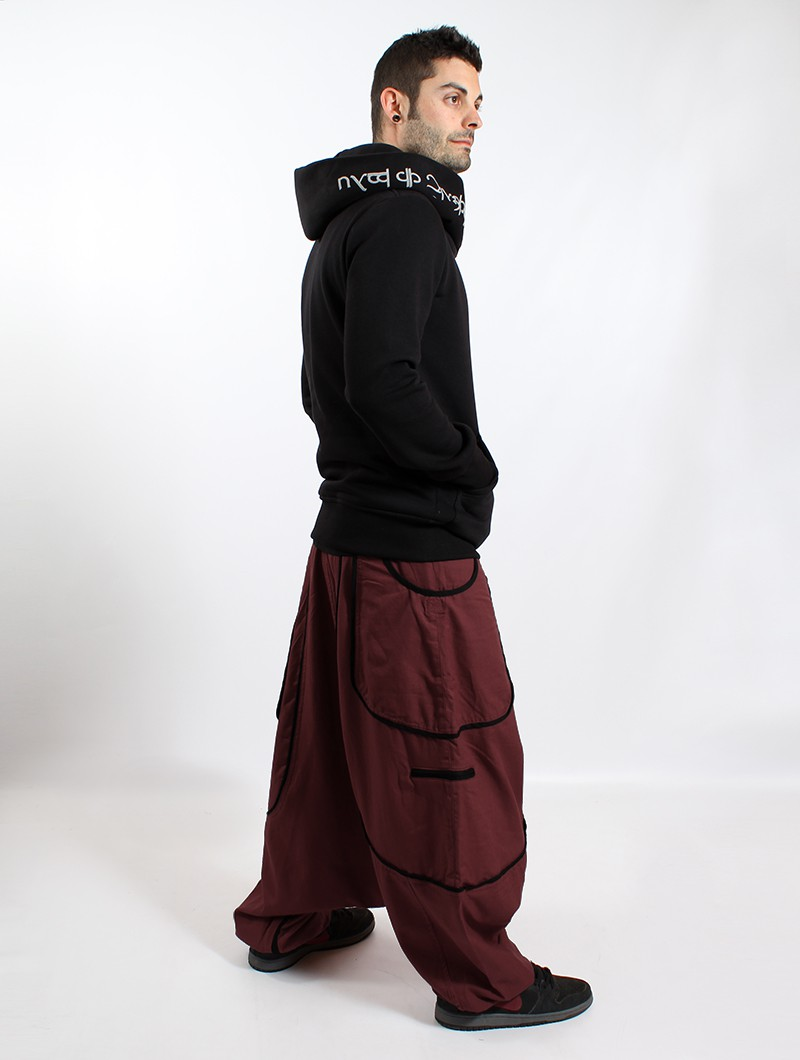 """Lines\"" Gender neutral harem pants, Wine with black lines"