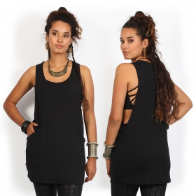 """Litonya\"" sleeveless tunic, Black"
