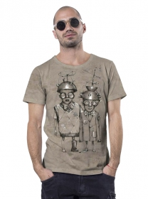 """Little bro\"" t-shirt, Mottled beige"