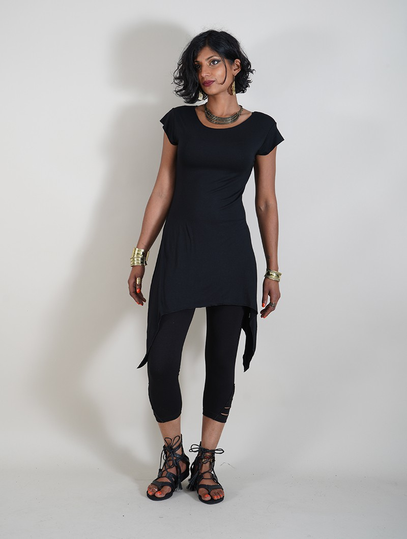 "\""Lizéa\"" long top, Black"