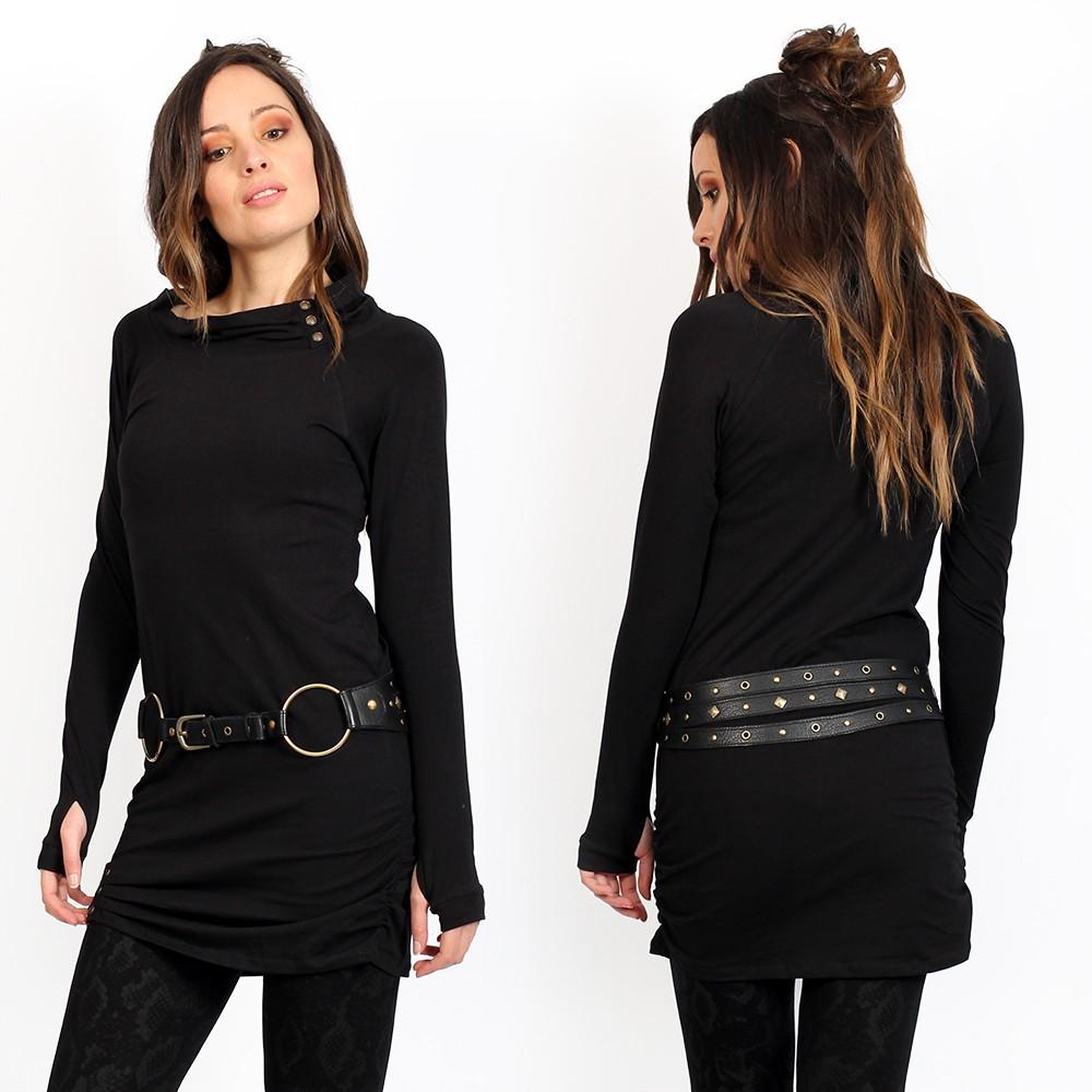 "\""Loba\"" tunic dress, Plan black"