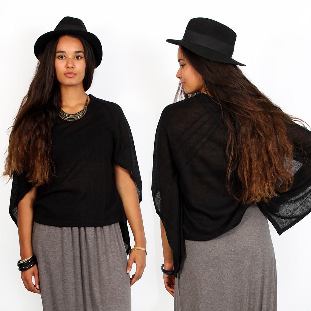 "\""Lokharkë\"" short open sleeves top, Black"