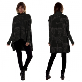 """Loki\"" long top / tunic, Black camouflage"