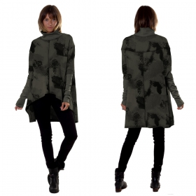 """Loki\"" long top / tunic, Khaki camouflage"