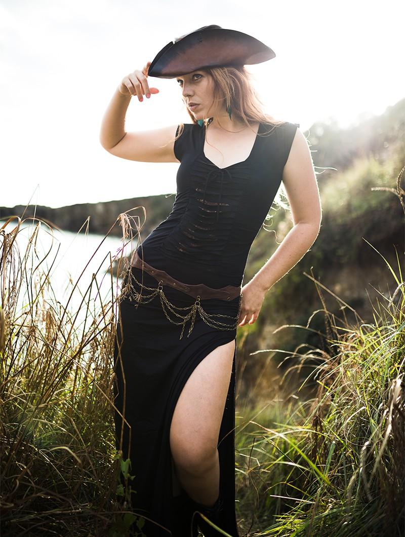 "\""Long Jadeite\"" dress, Black and brown"