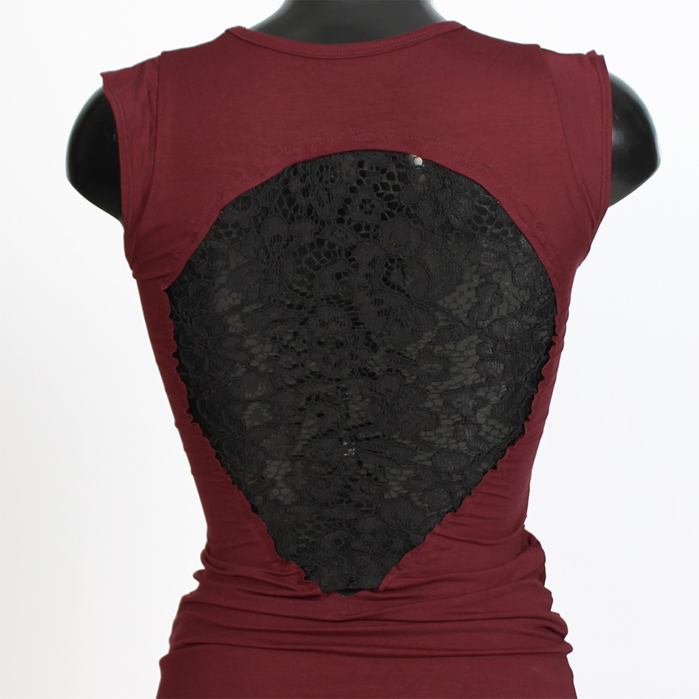 "\""Long Jadeite\"" dress, Deepred and black"