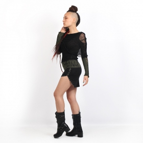 """Long Neck\"" top, Dark khaki and Black"
