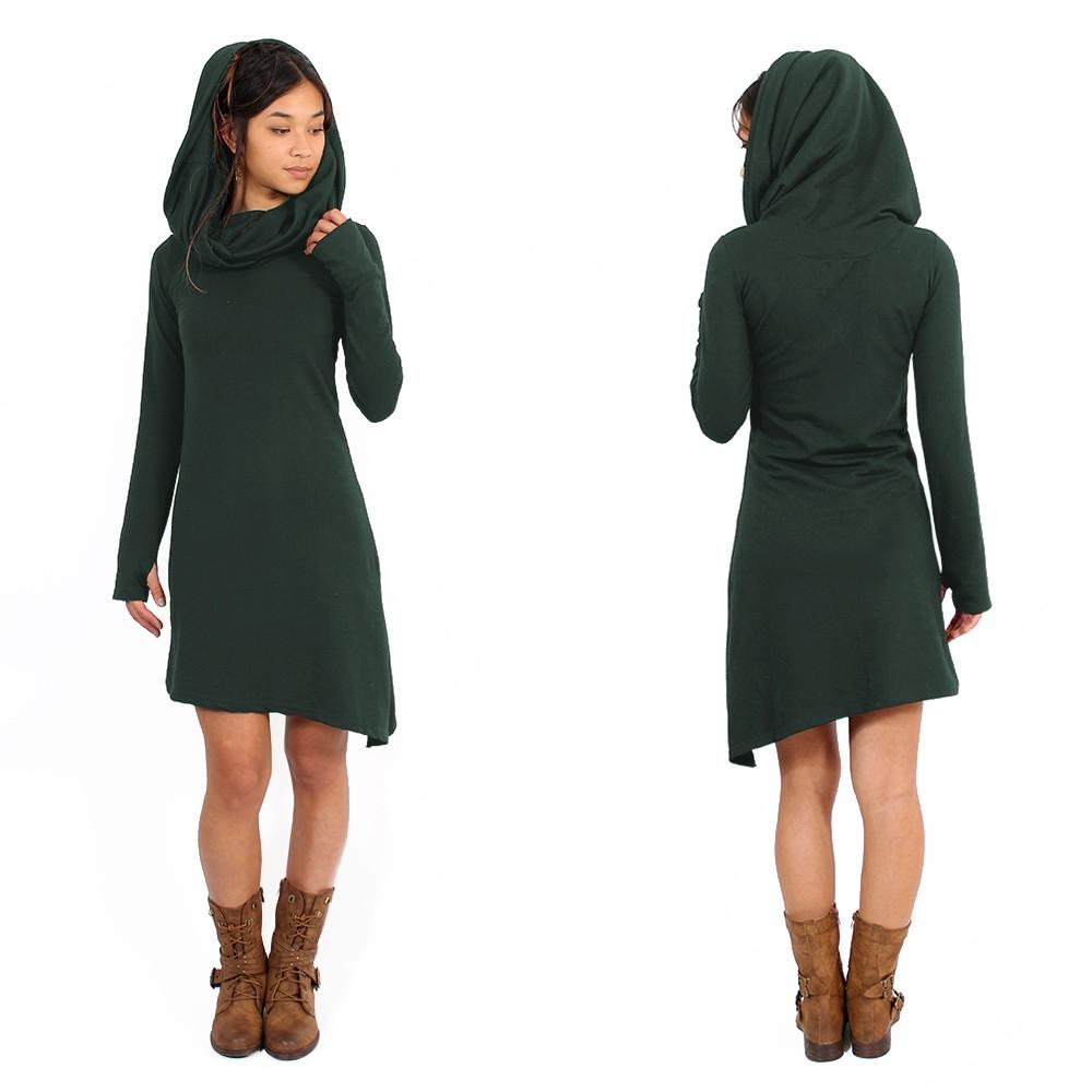 "\""Löou\"" sweatshirt dress, Dark Teal"