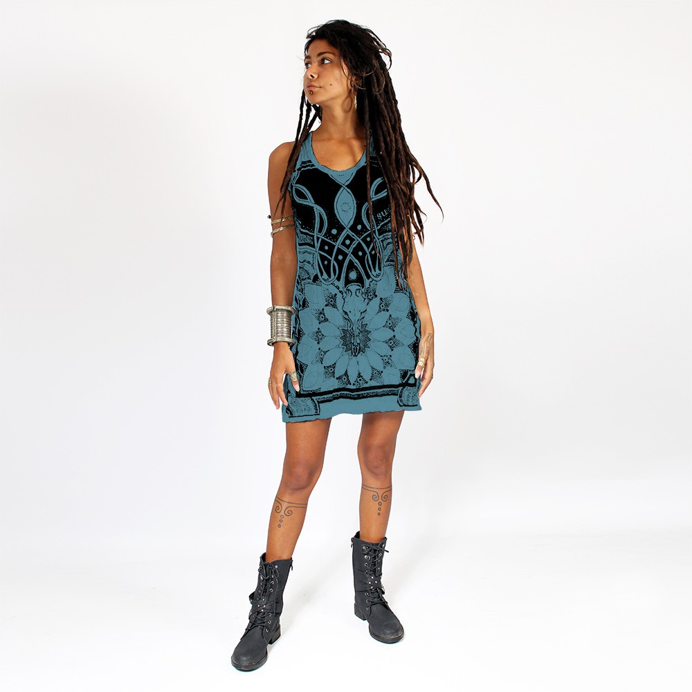 "\""Lotus\"" dress, Blue"