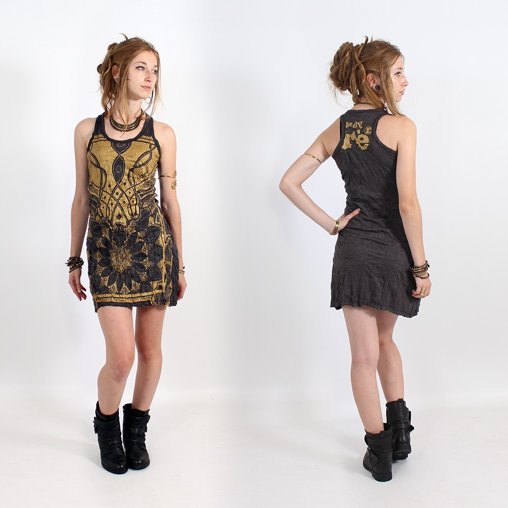 "\""Lotus\\\"" dress, Dark grey and gold"